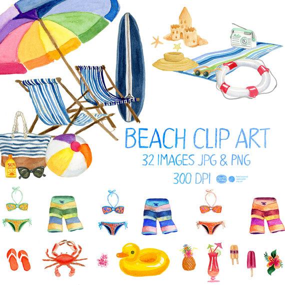 Beach clipart playa. Watercolor summer clip art