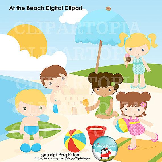 Beach clipart playa. En la ni os