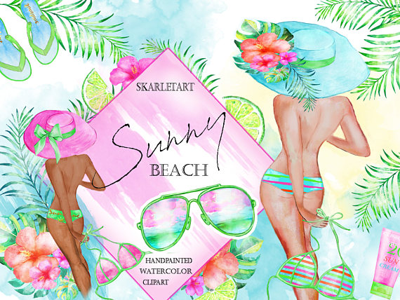 Watercolor fashion girls summer. Beach clipart playa