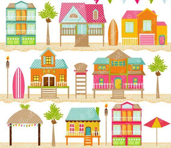 Casa de tiny house. Beach clipart playa