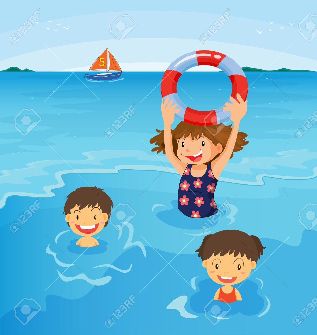 Swimming at the . Beach clipart playa