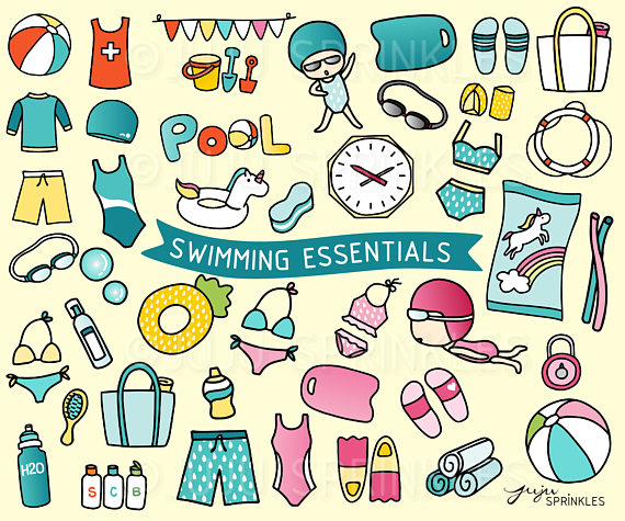 Bikini clipart swimming trunk. Pool beach illustrations stickers
