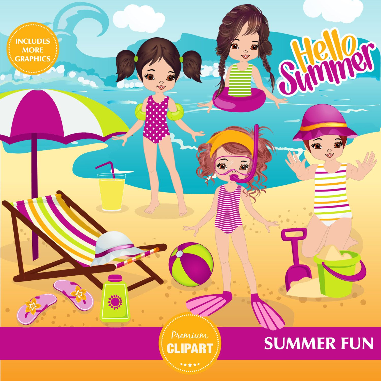 Beach clipart pool. Summer swimming girls girl