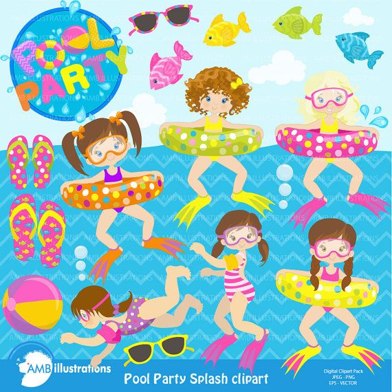off girl party. Beach clipart pool