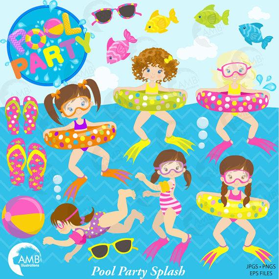 Beach clipart pool. Girl party birthday ilxn