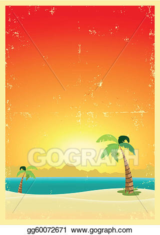 Eps vector exotic grunge. Beach clipart postcard