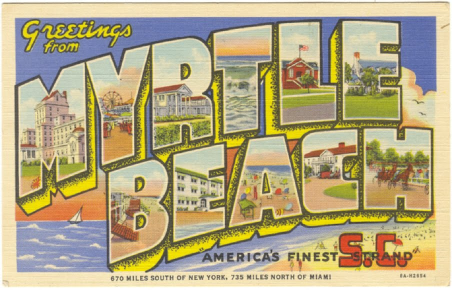 Beach clipart postcard. Travel myrtle south carolina