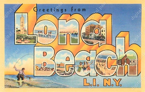 Beach clipart postcard. Long island new york