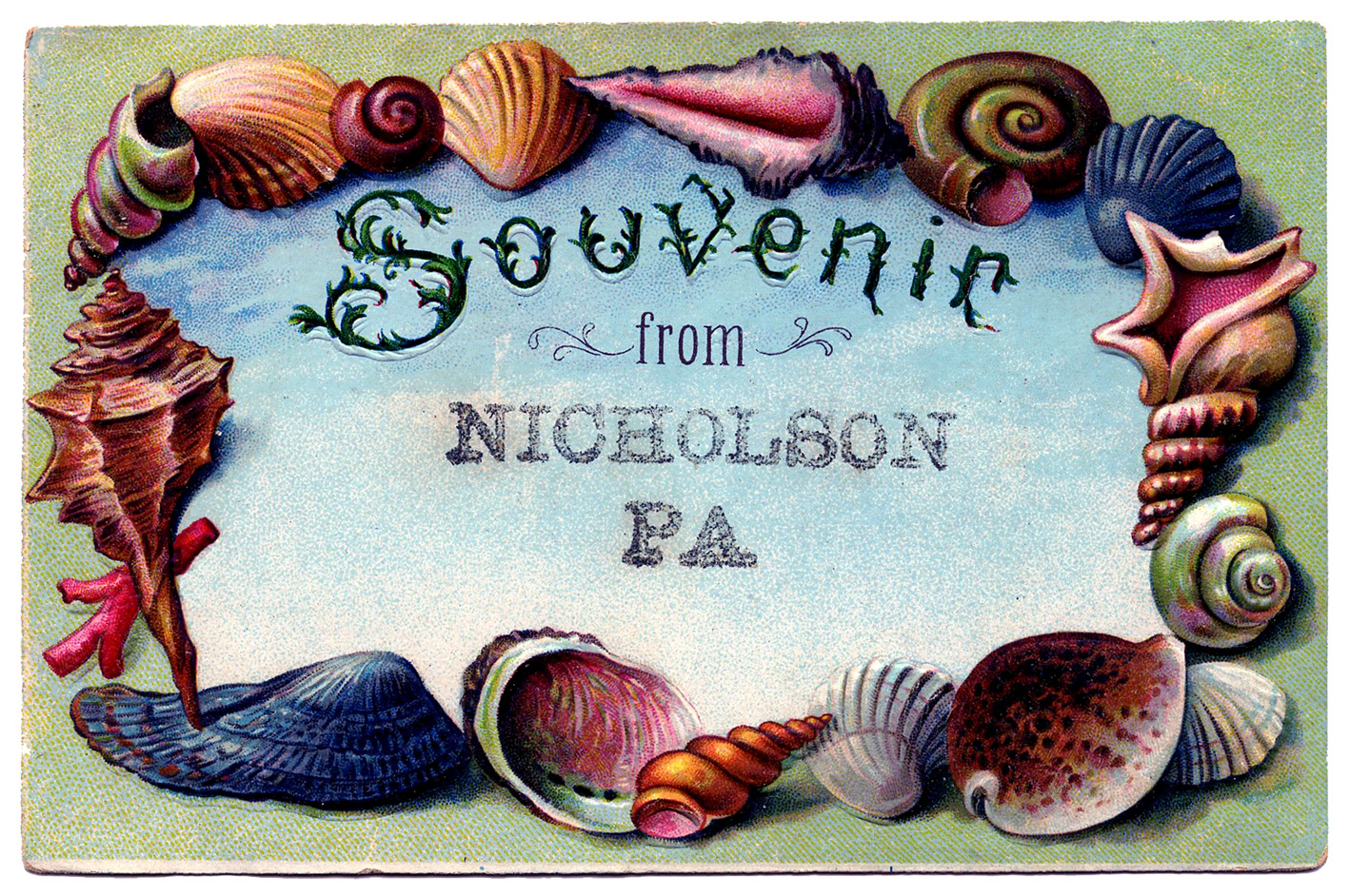 Vintage clip art souvenir. Beach clipart postcard