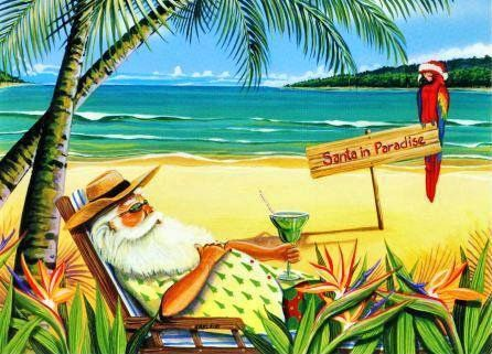 Christmas on the clip. Beach clipart postcard