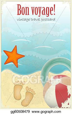 Beach clipart postcard. Vector art vintage travel