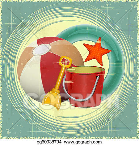 Vector art toys retro. Beach clipart postcard
