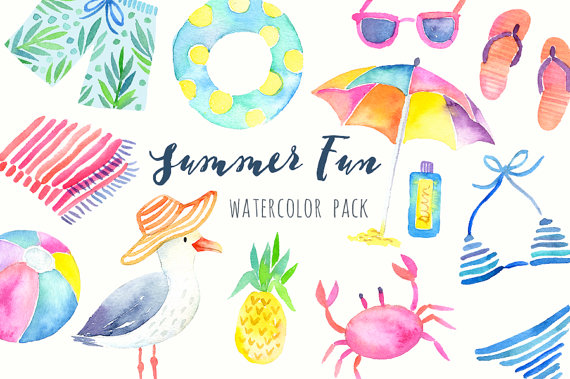 Watercolor summer tropical graphics. Beach clipart printable
