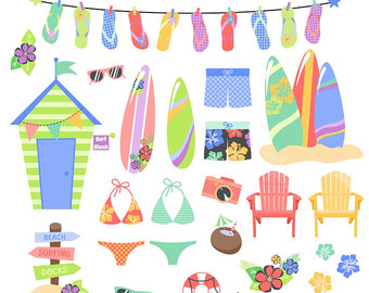 Beach clipart printable. Summer digital and papers