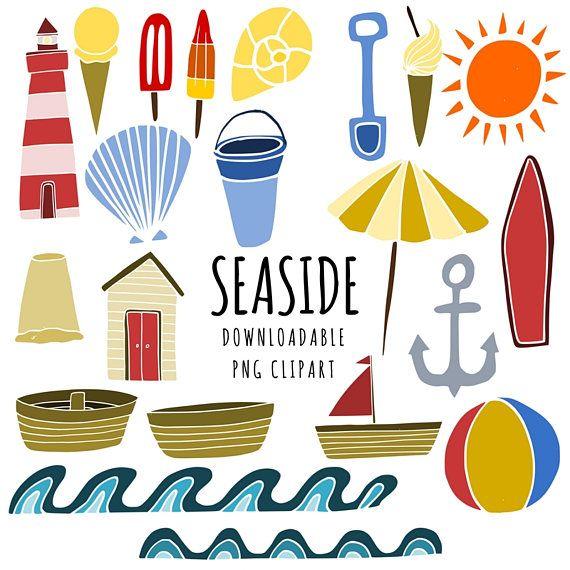 Seaside summer kids. Beach clipart printable