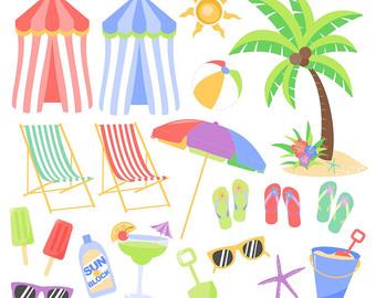 Beach clipart printable. Chair etsy tropical summer