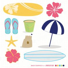 Beach clipart printable. Free party printables click