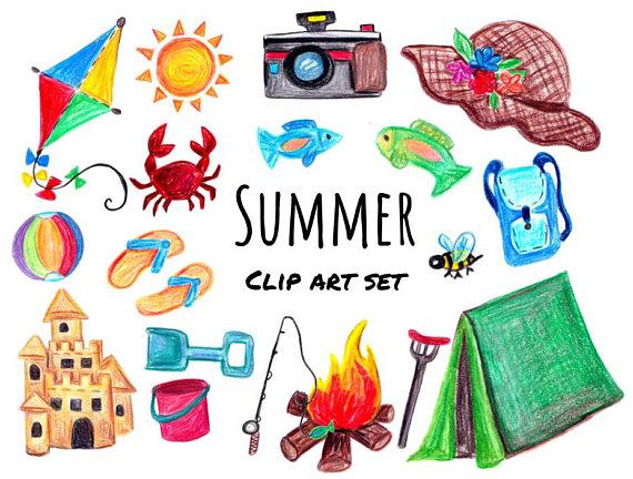 Beach clipart printable. Hand drawn summer camping