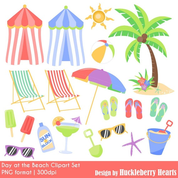Tropical summer graphics commercial. Beach clipart printable
