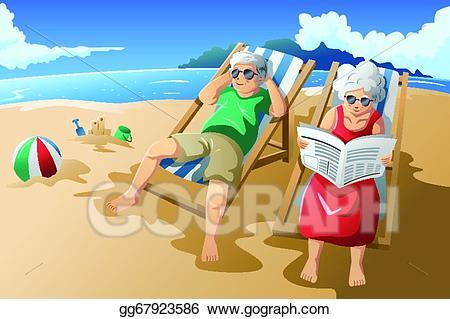 Eps illustration senior couple. Beach clipart retirement