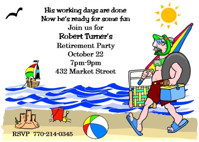 Party invitations custom designed. Beach clipart retirement