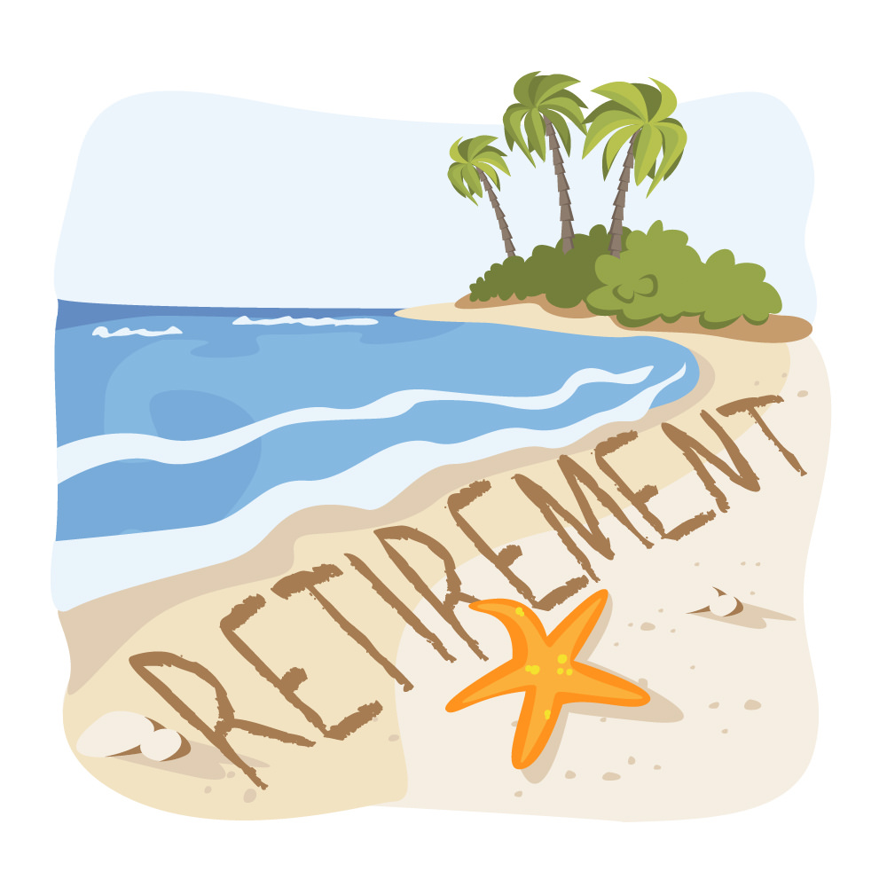 Unrealistic expectations muddy employee. Beach clipart retirement