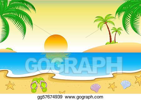 Vector art natural view. Beach clipart scenery