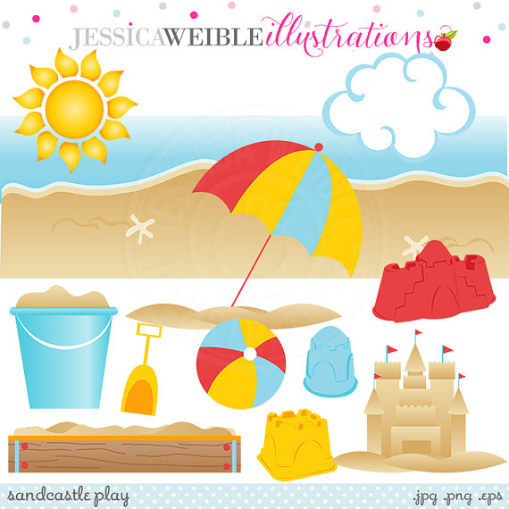 Beach clipart scrapbook. Sandcastle play cute digital
