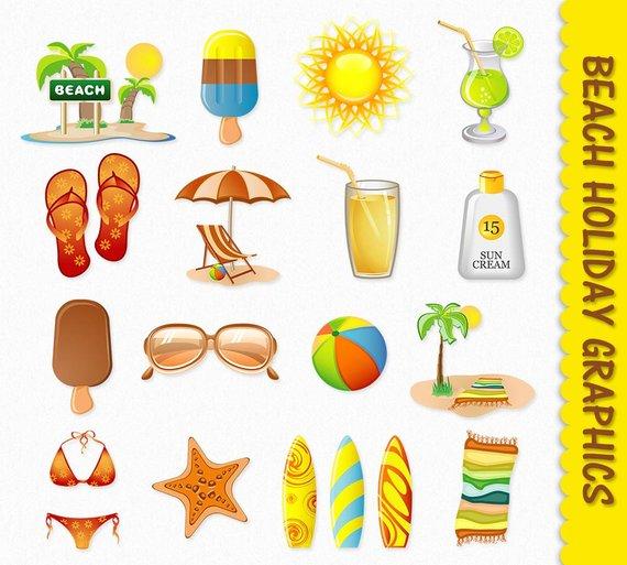 Clip art graphics travel. Beach clipart scrapbook