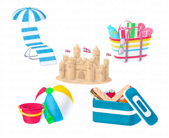 Beach clipart scrapbook. Items similar to pack