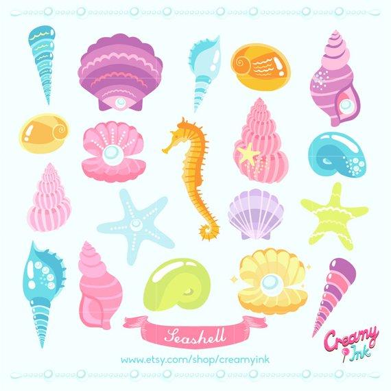 Digital vector clip art. Beach clipart seashell