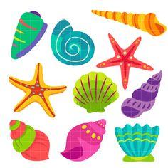 Beach clipart seashell. Set svg scrapbook cut