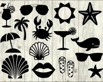 Svg etsy bundle summer. Beach clipart silhouette
