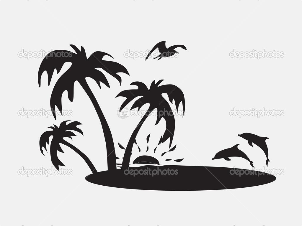 beach clipart silhouette