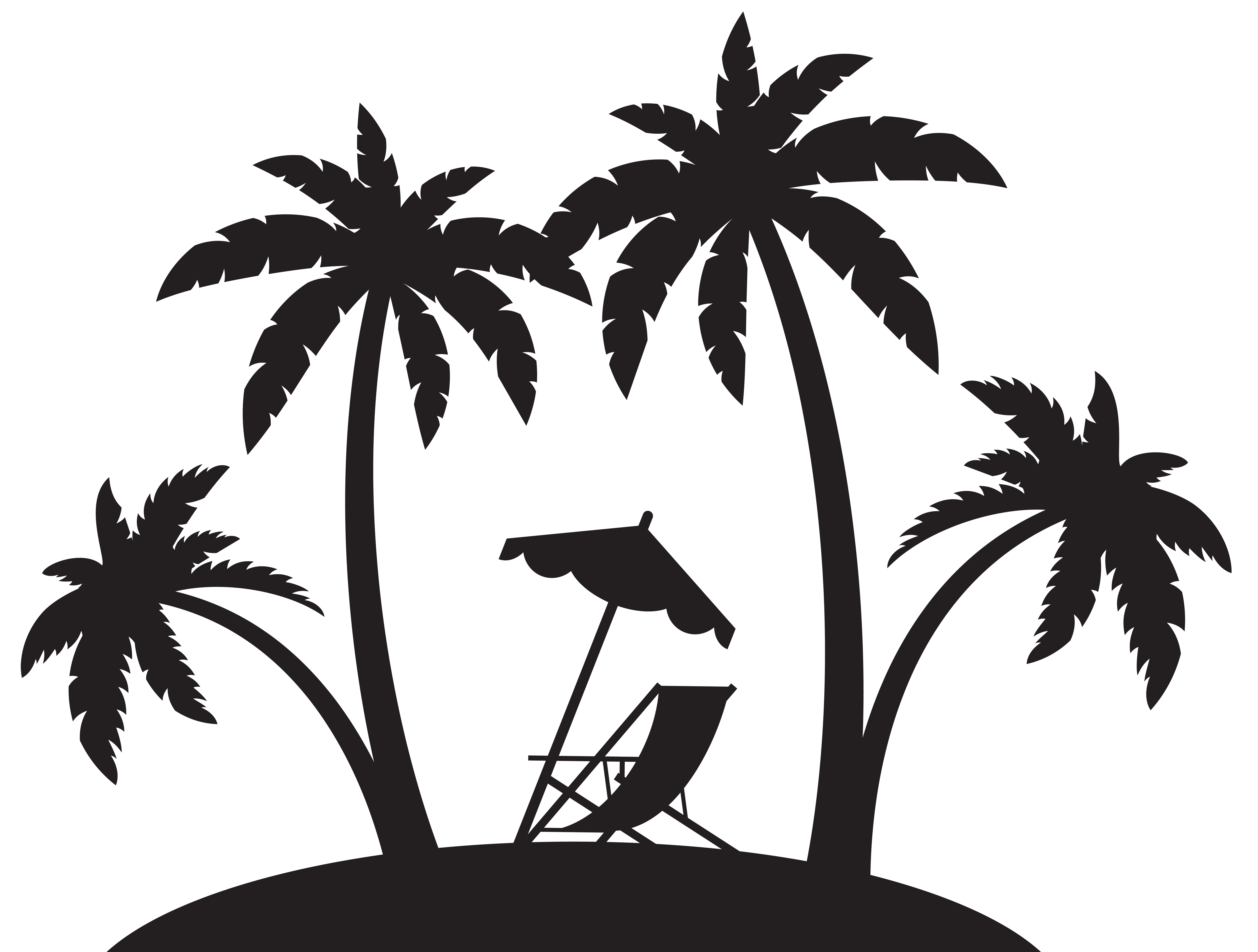 Palms and beach silhouette. Clipart volleyball chair