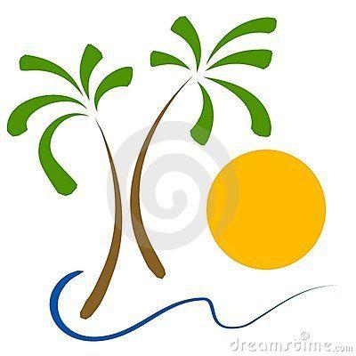 Beach clipart simple. Clip art palm tree