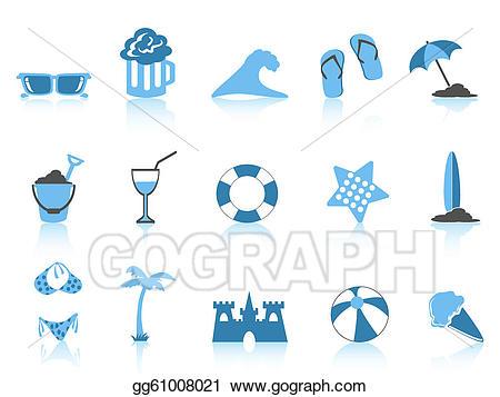 Vector icon blue series. Beach clipart simple