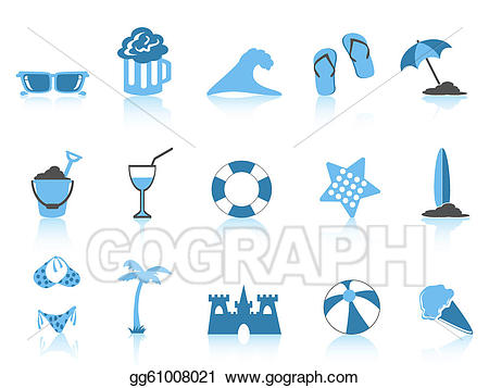 Beach clipart simple. Vector icon blue series