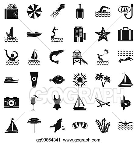 Stock illustration summer icons. Beach clipart simple