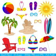 Beach clipart summertime. Digital clip art printable