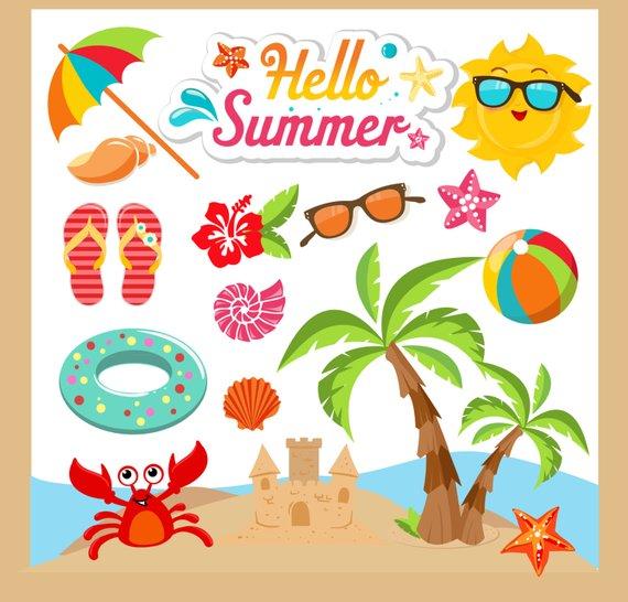 Summer clip art . Beach clipart summertime