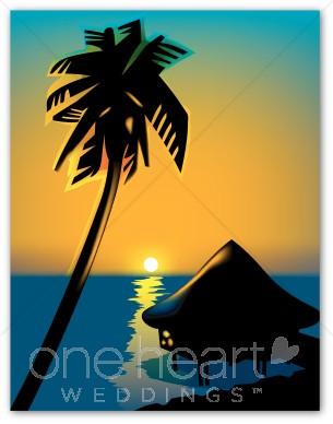Wedding. Beach clipart sunset
