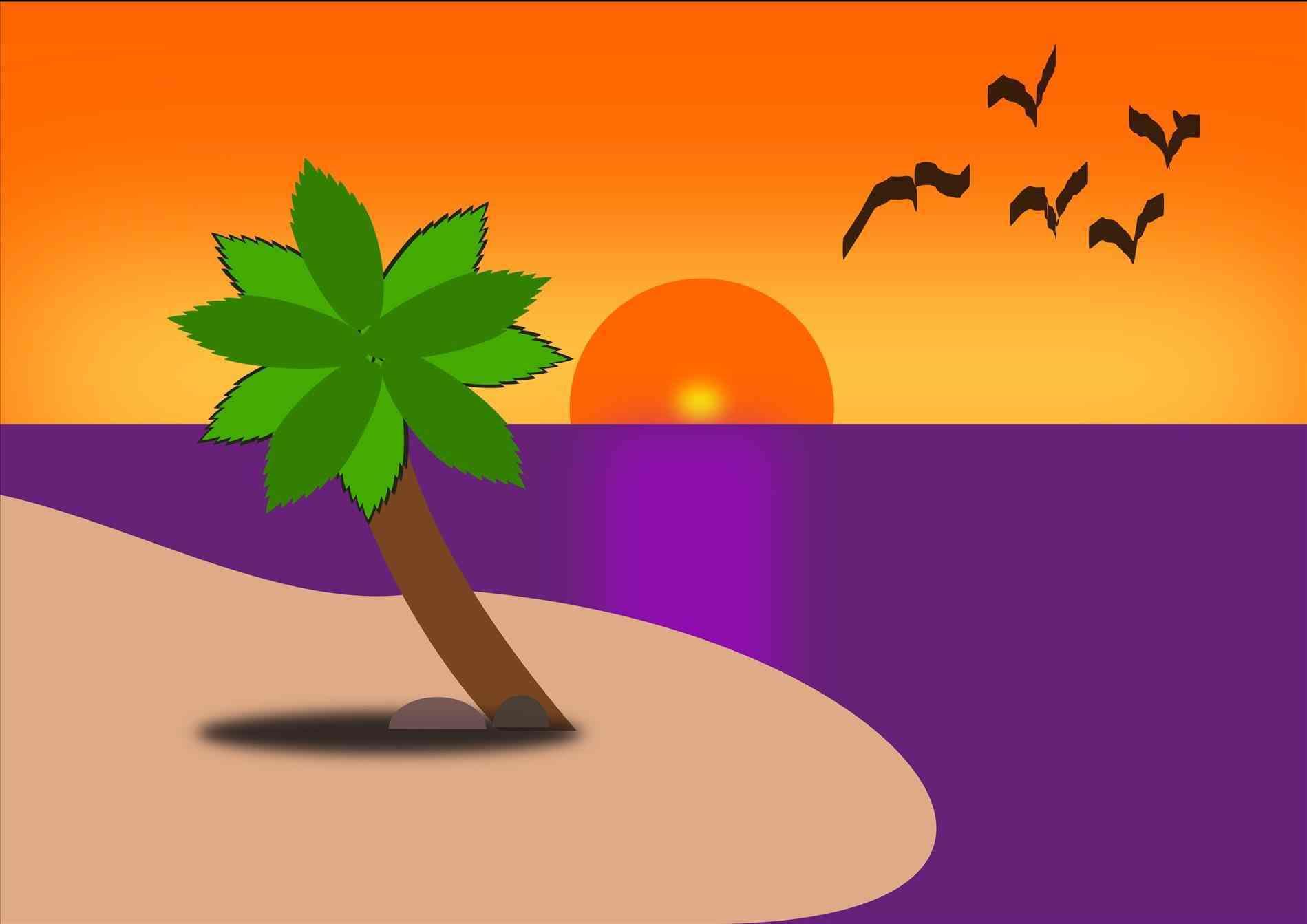 Free download clip art. Beach clipart sunset