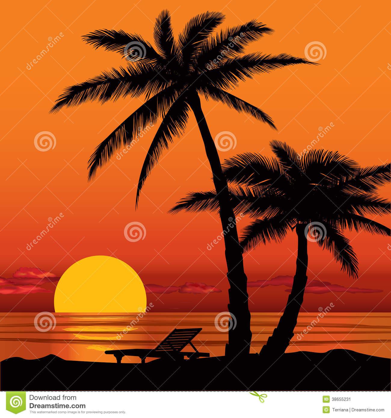 Beach clipart sunset. Silhouette