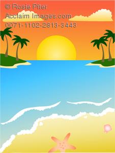 Illustration of on a. Beach clipart sunset