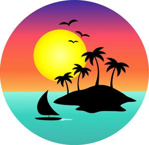Beach clipart sunset. Panda free images hawaiian