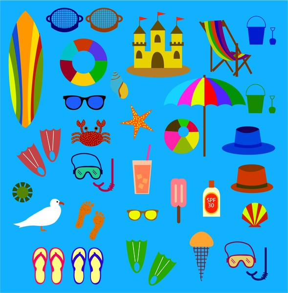 Icons isolated with various. Beach clipart symbol