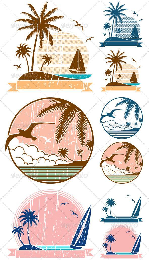 Beach clipart symbol. Symbols filing and graphicriver