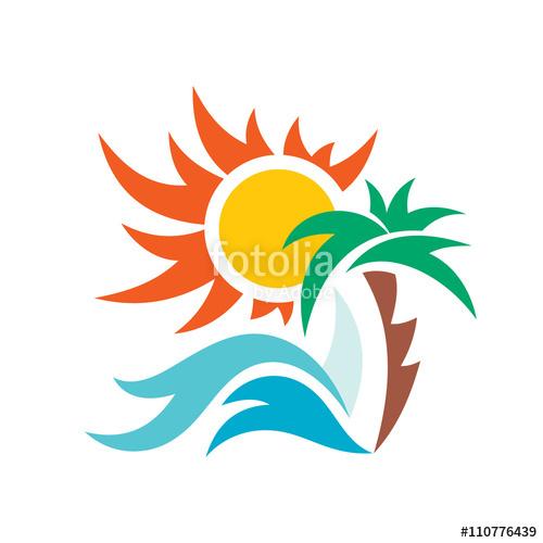 Beach clipart symbol. Summer travel vacation vector