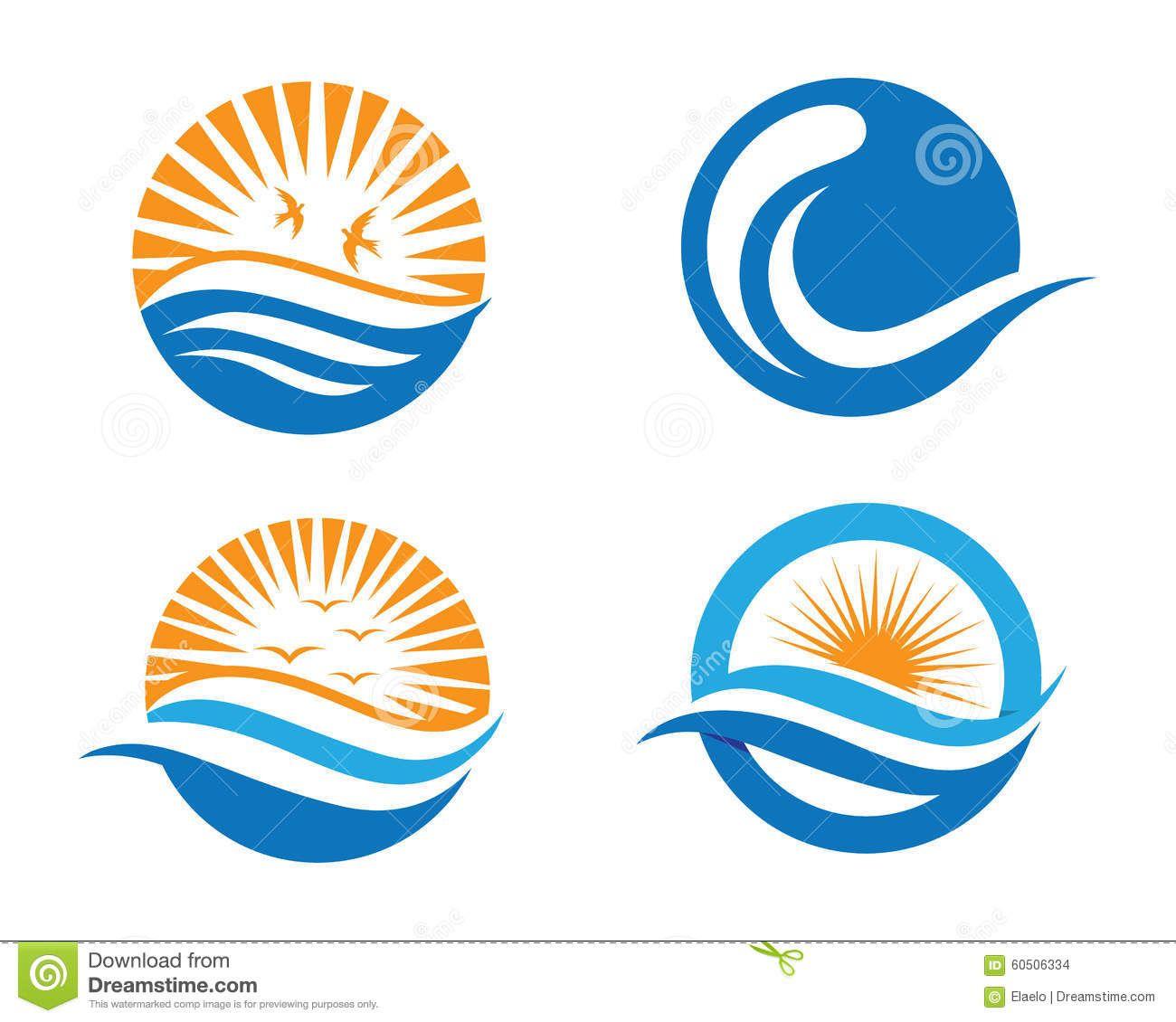 Ocean wave logo stock. Beach clipart symbol